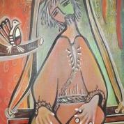 São Francisco na gangorra, 30x70cm. LaArtB, Janeiro de 2013. Acrílica sobre tela. Saint Francis of Assisi on the seesaw, 30x70cm. LaArtB, January 2013. Acrylic Canvas.