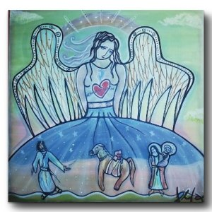 angel.us 80x80cm, Acrylic Canvas