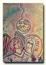 Anunciação, Um útero no céu. 100x70.