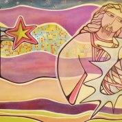 Nascimento (Birth) 2 metros x 75 cm. Acrylic Canvas. Vendido.